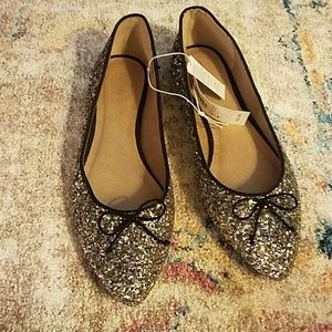 Silver glitter dress flats